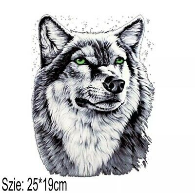 £4.15 • Buy Iron On Heat Transfer/Patch/Applique For Diy Clothes (WOLF WITH GREEN EYES)
