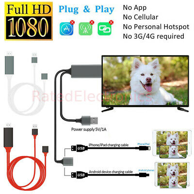 $ CDN14.33 • Buy HDMI Mirroring Cable Phone To TV HDMI Adapter For IPhone Android IPad Tablets US