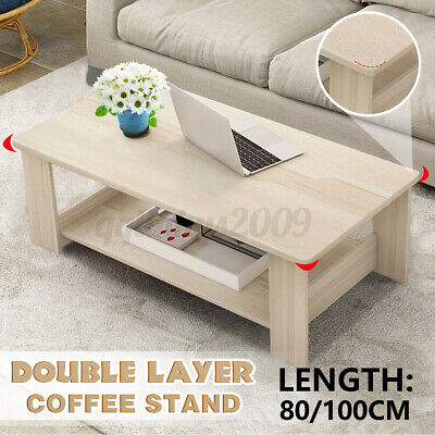 AU70.99 • Buy Artiss Wooden Coffee Table Storage Double Shelf Home Office Furniture White AU