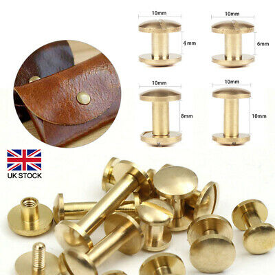 £4.76 • Buy 10Pack Arc Belt Screw Nail Brass Solid Rivets Stud Head Tools DIY Leather Craft
