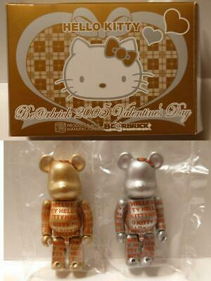 $198 • Buy BearBrick  BE@RBRICK 2005 Valentine's Day Hello Kitty Gold And Silver Set 2pcs