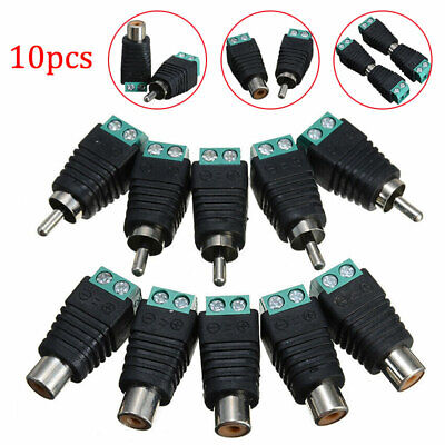£5.03 • Buy 10Pcs Speaker Wire Cable To Male + Female RCA LED Connector Adapter Plug Jack