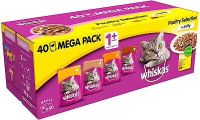 £18.98 • Buy Whiskas 1+ Years Cat Pouches Poultry Selection In Jelly 40 X 100g (4 Kg)