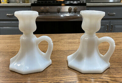 $9.50 • Buy Vintage Milk Glass Chambers Candle Stick Holders (Pair)
