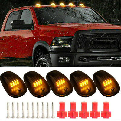 $38 • Buy 5x Amber LED Cab Roof Marker Lights Smoke Cover For Dodge RAM 1500 2500 3500