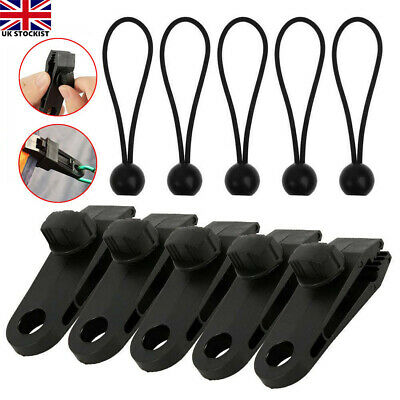 10Pcs Set Tent Tarp Tarpaulin Fasteners Clips Holder Buckle With Bungee Cord UK • 7.99£