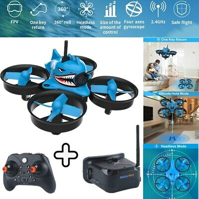Micro FPV Racing Drone With Goggles Camera RTF Tiny Whoop Quardcopter Blue Shark • 79.99£
