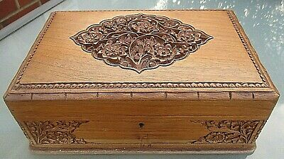 £180 • Buy Stunning Antique Large Carved Wooden Jewellery / Collectors Box / Coin Chest