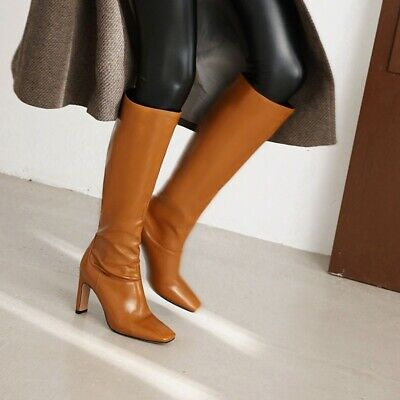 £22.61 • Buy Women Sexy Square Toe Knee High Boots Pumps Cocktail Block Heel Party Shoes Size