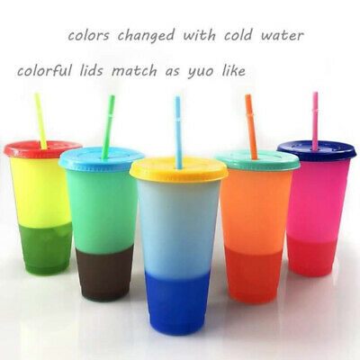 5PCS Color Changing Confetti Cup Reusable Tumbler With Lid And Straw Cold Cup UK • 17.30£