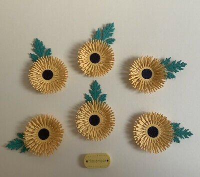 £2.95 • Buy Delightful Handcrafted 6 PAPER SUNFLOWERS Crafts Card Making
