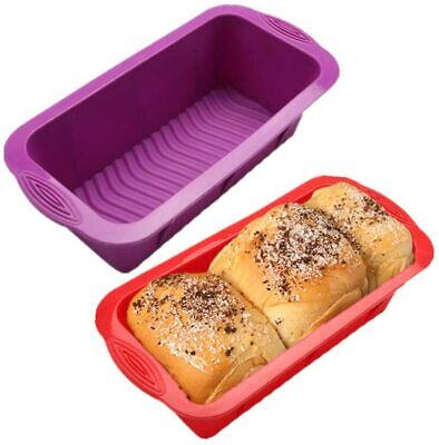 £6.99 • Buy 2PCS Silicone Cake Mould Non-stick Rectangle Bread Loaf Mould Baking Tray New UK