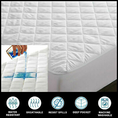 £13.49 • Buy 100% Cotton Waterproof Mattress Protectors Pad Toppers 40cm Extra Deep All Sizes