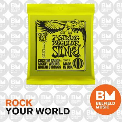 AU15.99 • Buy Ernie Ball 2621 7 String Electric Guitar Strings Slinky Regular  10-56