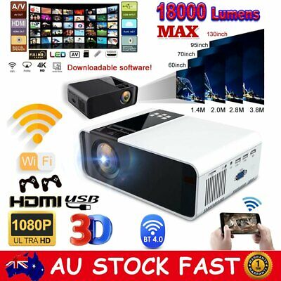AU132.99 • Buy HD 4K 1080P Wifi Bluetooth Projector Android LCD Video Home Theatre Cinema HDMI