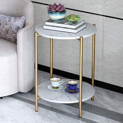 £37.99 • Buy 2 Tiers Solid Marble Top Round Coffee Table Lounge Living Room Modern Gold Legs