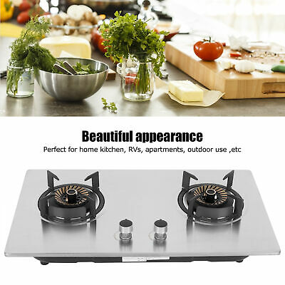AU157.69 • Buy 3800W Double Gas Cooktop Stainless Steel Liquefied Gas Stove 2Burners Cooker Hob