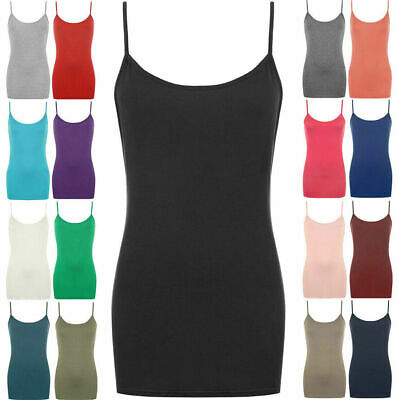 £6.45 • Buy Ladies Strappy Plain Bodycon Cami Vest Tank Top Sleeveless Camisole Mini Dress