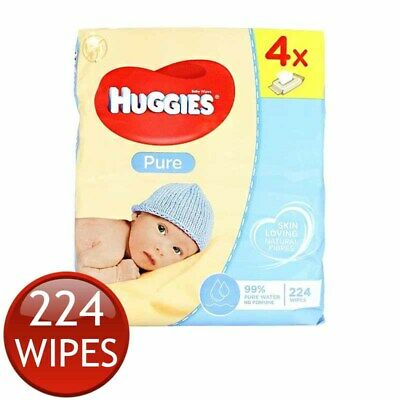 AU19.99 • Buy 4 X HUGGIES BABY WIPES PURE NEWBORN BABIES HEALTHY CLEANSE SKIN CARE 56 PACK