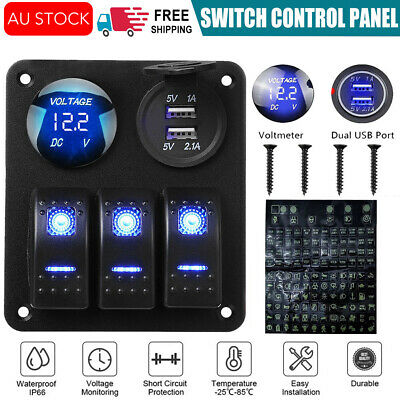 AU28.95 • Buy 3 Gang 12V Switch Panel Control USB Charger ON-OFF Toggle For Truck Marine Boat