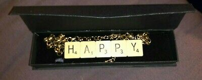 £15 • Buy New Homemade Happy Scrabble Letter Necklace With Gold Chain/link