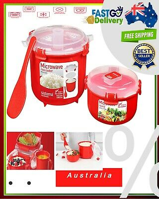 AU22.90 • Buy Sistema Microwave Rice Cooker Steamer With Paddle Red