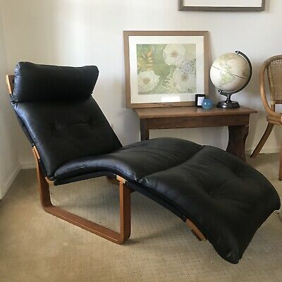 AU800 • Buy Mid Century Black Leather Recliner Excellent Condition