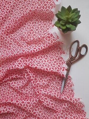$10.98 • Buy Red Embroidered Cotton Voile Fabric Dress Floral Fashion Sewing Crafts Material