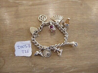 Beautiful Vintage Solid Silver Charm Bracelet With 9 Charms • 85£