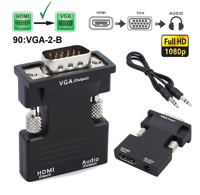 1080P HDMI Female To VGA Male With Audio Output Cable Converter Adapter Lead UK • 3.99£