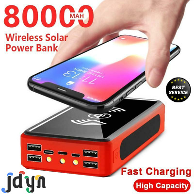 AU55.37 • Buy Wireless Solar Power Bank Portable Phone Fast Charging 4USB LED Lights 80,000mAh