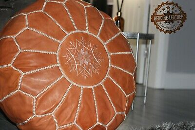 Moroccan Hand Made Leather Pouffe- Natural        • 59.99£