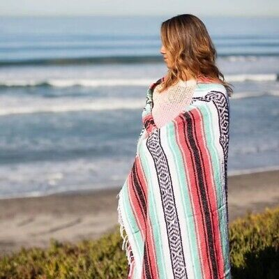 £27.99 • Buy Mexican Tapestry Stripey Blanket Throw Rug Shawl Cloak Rug Yoga Picnic Camping