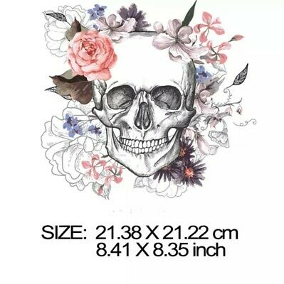 £4.25 • Buy Iron On Heat Transfer/Sticker Patch  SKULL WITH FLOWERS