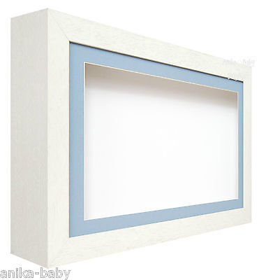 £52.95 • Buy New Large Deep Shadow White / Blue Box Display Frame For Baby Boy Casts, Medals