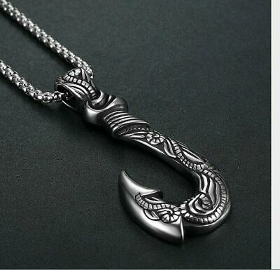 $10.99 • Buy Mens Hot Hawaiian Fishing Fish Hook Pendant Necklace Stainless Steel Jewelry