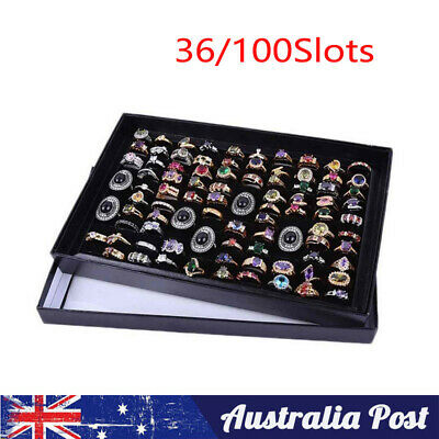 AU13.99 • Buy 36/100Slots Jewelry Ring Display Organizer Case Tray Holder Earring Storage Box