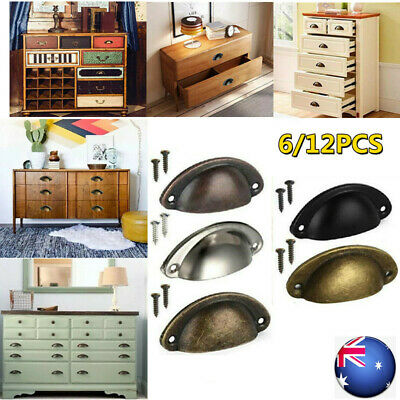 AU12.69 • Buy 6-12X Cupboard Door Cabinet Cup Drawer Furniture Retro Antique Pull Shell Handle