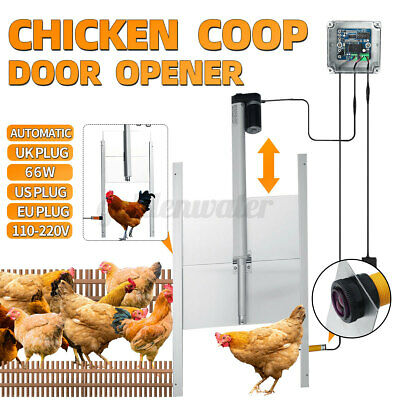 £88.57 • Buy 66W Chicken Door Automatic Coop Poultry Cage Opener Rails Closer Timer House UK