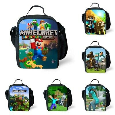 AU19.98 • Buy Kids Minecraft Insulated Lunch Box Bags School Children Picnic Snack Cool Bag AU