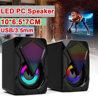 £11.90 • Buy Surround Sound System LED PC Speakers Gaming Bass USB Wired For Desktop Computer