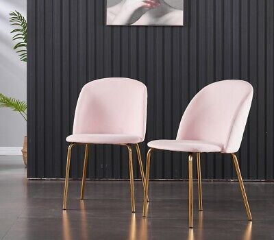 £99.90 • Buy 2x Luxury Velvet Fabric Dining Chairs Metal Brass Legs Kitchen Padded Seat Pink
