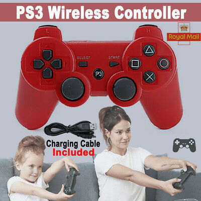 Red PS3 Controller PlayStation3 Wireless SixAxis GamePad With Data Cable UK • 8.59£