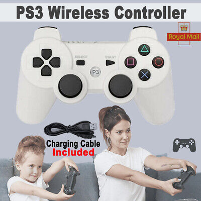 White PS3 Controller PlayStation3 Wireless SixAxis GamePad With Data Cable UK • 8.39£