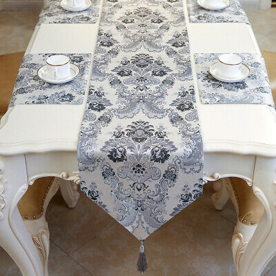 AU32.43 • Buy Jacquard Floral Table Runners Cover Kitchen Tablecloths Tassel Dining Home Decor
