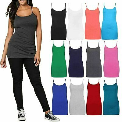 £6.29 • Buy Womens Plain Cami Blouse Plus Size Stretch Long Strappy Camisole Vest Tank Top