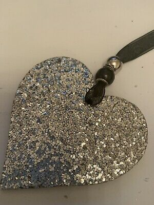 £2.79 • Buy Silver Sparkle Textured Wooden Heart Hanging Decoration Sign Plaque Hanger Gift