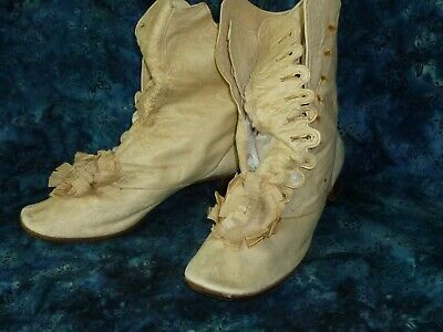 £201.57 • Buy Early 19th Century Wedding Boots White Antique Boots White Leather Button Shoes