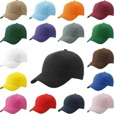 £4.90 • Buy Baseball Cap With Classic Fastner Mens & Ladies Sun Summer Hats Cotton Mix