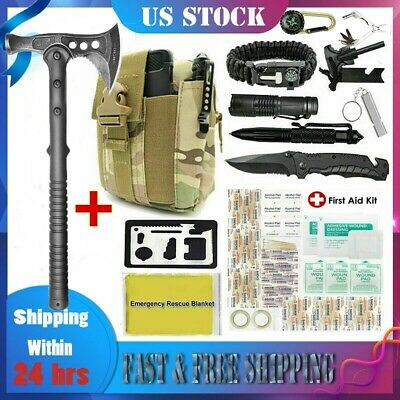 $59.60 • Buy Survival Camping Axe Kit Outdoor Tactical Hatchet Emergency Gear Tools Molle Bag